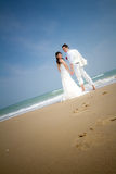In love bride and groom. Are posing in romantic emotion Stock Image