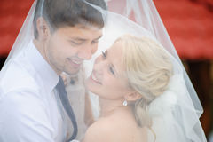 Love the bride and groom are covered with a veil Stock Photo