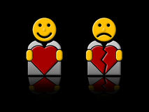 In love/broken heart. One happy and one sad man holding hearts Stock Images