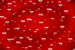 Love bubbles. Love background. Hearts in red Royalty Free Stock Images