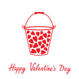 Love bucket with hearts inside. Happy Valentines d Royalty Free Stock Photography