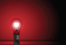 Love Bulb in Red Background. Illustration of Light Bulb with Glowing Heart inside Royalty Free Stock Photo