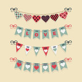 Love buntings and festive garlands decoration set Royalty Free Stock Image