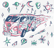 Love bus vector poster. Hippie car, mini van with different symbols. Retro colors. Psychedelic concept. Vector illustration for su Stock Images