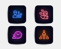 Love, Business growth and Time management icons. Management sign. Woman in love, Earnings results, Work time. Vector. Neon glow lights. Set of Love, Business vector illustration