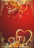 Love and butterflies. Pair of hearts with butterflies and colours on a red background Stock Photography
