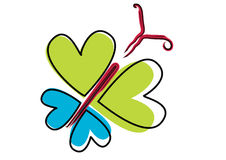 Love butterfly - vector. Brush stroked hearts love butterfly, vector Royalty Free Stock Images