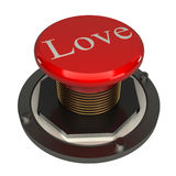 Love button, 3d red glossy metallic. White background royalty free illustration