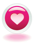 Love Button. Hot pink floating Heart internet button Stock Image
