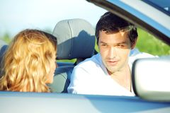 Love in cabrio Stock Image