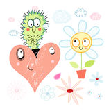 Love cactus and flower Stock Photo