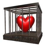Love cage. Metal cage with red heart inside - 3d illustration Stock Photos