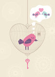 Love cage with lonely bird Royalty Free Stock Photo