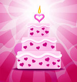 LOVE CAKE. Cake with pink glaze and hearts decoration Royalty Free Stock Image