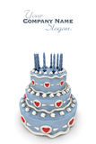 Love cake. 3D rendering of  a impressive blue three floor cake with red hearts and candles Stock Photos