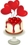 Love cake with heart balloons Royalty Free Stock Photos