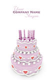 Love cake in pink. 3D rendering of  a impressive pink three floor cake with red hearts and candles Stock Photos