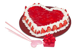 Love cake and present Royalty Free Stock Photo
