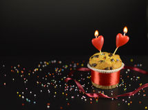 Love cake with two candles Royalty Free Stock Images