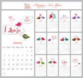 Love calendar for 2016 with birds.  vector illustration