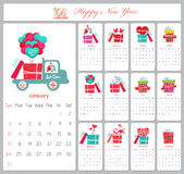 Love calendar for 2016 with gifts.  stock illustration