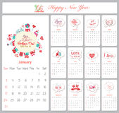 Love calendar for 2016 with greeting bubble.  royalty free illustration
