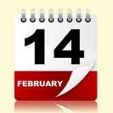 Love Calendar Means Valentines Day And 14Th Royalty Free Stock Photos