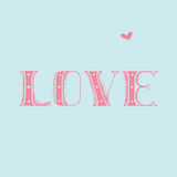 Love calligraphic inscription and heart, love hand drawing Stock Photo