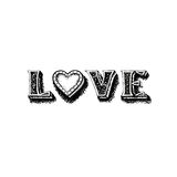 Love calligraphic inscription with heart, love hand drawing Royalty Free Stock Images