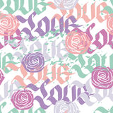 Love calligraphy seamless pattern. Love calligraphy word seamless pattern with roses, vector background in pastel colors Stock Photos