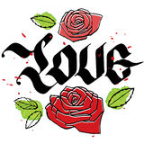 Love calligraphy word with roses Royalty Free Stock Photos