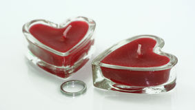 Love candle and ring Royalty Free Stock Photo