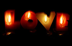 Love Candles. Studio cut-out Stock Images