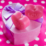 Love candles and gift box Stock Photo
