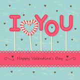 Love candy background. I Love you sweet candy with frame and ribbon on hearts background Stock Photos