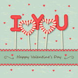 Love candy background. I Love you sweet candy with frame and ribbon on hearts background Royalty Free Stock Photography