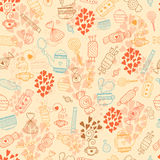 Love candy background. Love candy warm background with sweets, hot tea, hearts, mugs and teapots. Food and drink vector seamless pattern Stock Images