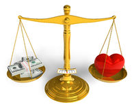 Love cannot be bought. Red glossy heart and bunch of dollars on golden weight scales isolated over white background Royalty Free Stock Images
