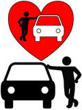 Love the Car Owner Lover Auto Dealer. Love the car! A symbol person as a loving car owner leans on a car, or a silhouette of a dealer or mechanic leaning on a stock illustration
