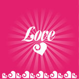 Love card. Retro Valentine card in pink colors Stock Image