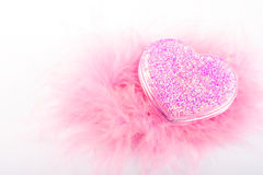 Love card. Pink heart and feathers isolated Stock Photography