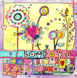 Love Card. Cute illustration with I Love You lettering and lots of flowers and hearts Stock Images