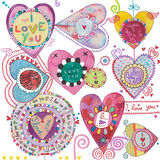 Love Card. Cute design with hearts and I Love You; pretty colors and whimsical shapes, perfect for greeting cards. Square format, clean background. Created with Royalty Free Stock Photo
