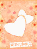 Love card. Love greeting card - a pink grunge background with hearts Stock Image