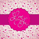 Love card. Background with label in spring romantic theme Royalty Free Stock Photography