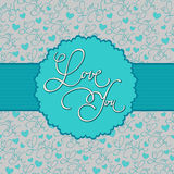 Love card. Calligraphic background with love you hand lettering calligraphic label Royalty Free Stock Image
