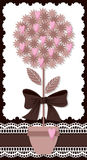 Love Card. With bunch of flowers and hearts, ribbon and lace Royalty Free Stock Image