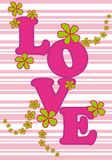 Love card. Love lettering with green flowers and pink stripes royalty free illustration