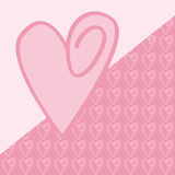 Love Card. A romantic card showing a pink heart Royalty Free Stock Photography