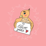 Love card with a bird Royalty Free Stock Photography